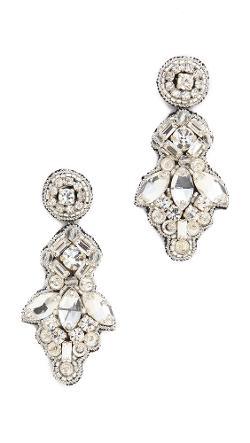 Deepa Gurnan -  Crystal Button Drop Earrings