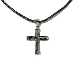 HSN - Stainless Steel Bead Cross Pendant Necklace