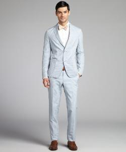Ermenegildo Zegna - Light Blue Striped Cotton Blend Two Button Suit With Flat Front Pants
