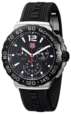 Tag Heuer - Black Dial Black Rubber Strap Quartz Watch