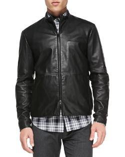 Theory   - Lamb Leather Jacket