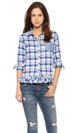 Clu  - Clu Too Ruffled Plaid Shirt