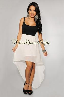hot miami styles - Black White Color-Block High-Low Padded Dress