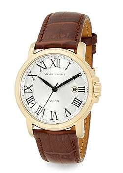 Saks Fifth Avenue  - Stainless Steel & Croc-Embossed Leather Strap Watch