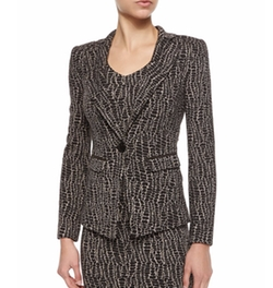 Armani Collezioni - Animal-Print One-Button Blazer