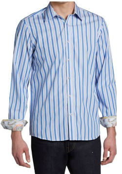 Report Collection  - Striped Woven Cotton Sportshirt