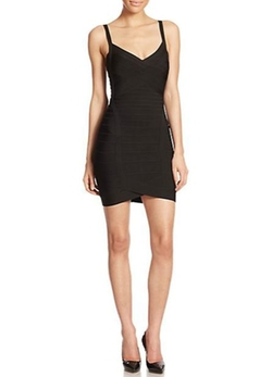 Herve Leger  - V-Neck Bandage Sheath Dress