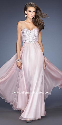 Gigi from La Femme - Strapless Sequined Bustier Rhinestone Satin Belt Chiffon Prom Dresses