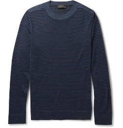 Paul Smith London - Striped Merino Wool Silk and Cashmere-Blend Sweater