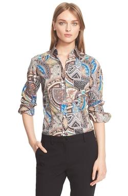 Etro  - Print Stretch Cotton Shirt