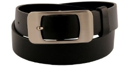 Sunny Belt  - Womens Black Sleek Square Buckle Belt