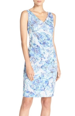 Adrianna Papell  - Embellished Print Jacquard Sheath Dress