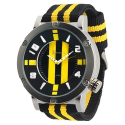 Geneva Platinum\ - Striped Fabric Strap Watch