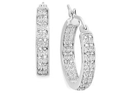 Victoria Townsend  - Rose-Cut Diamond Two-Row Hoop Earrings