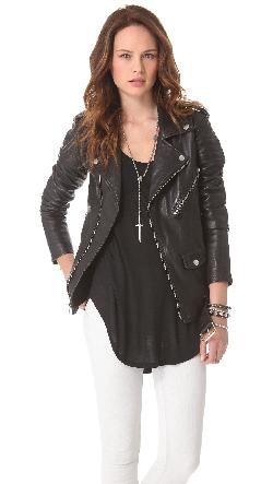 BLK DNM - Motorcycle Jacket With Quilted Stripes