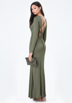 Bebe - Back Lace Up Maxi Dress