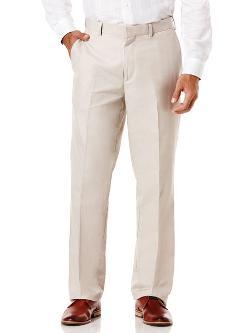 Cubavera - Cotton Linen Herringbone Flat Front Pant