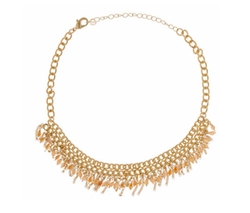 Free Press  - Beaded Fringe Choker Necklace