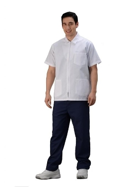 Avida - Short Sleeves Zippered Lab Coat