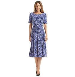 Jessica Howard - Short Sleeve Ruched Waist Print Dress
