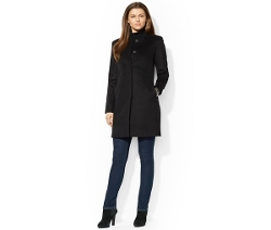 Lauren Ralph Lauren  - Collarless Snap-Front Walker Coat