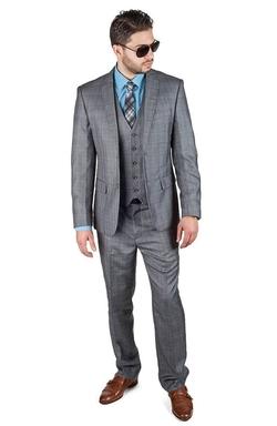 Azar Man - Slim Fit 3 Piece Vested Plaid Grey Suit