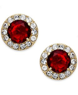 Kate Spade New York  - Gold-Plated Crystal Pavé Ruby Stone Stud Earrings