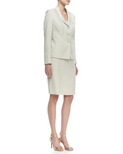 Albert Nipon - Seamed Skirt Suit, Celadon