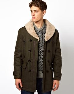 Plectrum By Ben Sherman  - Long Sleeved Fur Collar Jacket