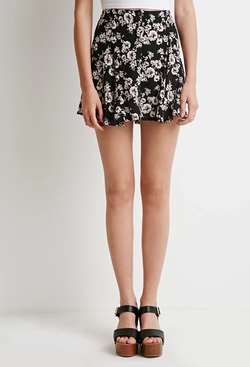 Forever21 - Buttoned Floral Gauze Skirt