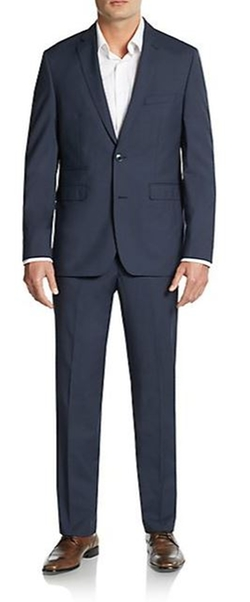Vince Camuto  - Slim-Fit Micro Check Wool-Blend Suit