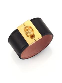 Alexander McQueen  - Crystal & Leather Gated Skull Cuff Bracelet