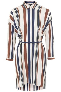 Topshop - Striped Belted Shirt Dress