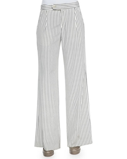 Derek Lam - Striped Flared Crepe Pants