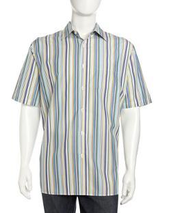 Neiman Marcus  - Non-Iron Wrinkle-Free Striped Sport Shirt, Multicolor