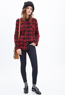 Forever21 - Plaid Flannel Button-Down Shirt