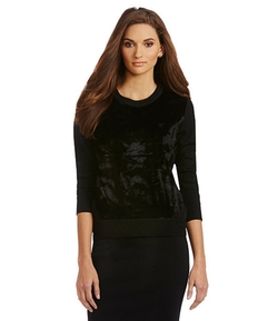Vince Camuto - Crewneck Faux-Fur Sweater