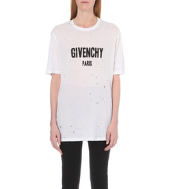 Givenchy  - Distressed Cotton Jersey T-Shirt