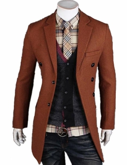 Uninukoo - Mens Slim Trench Double Breasted Overcoat