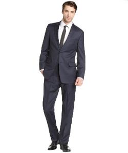 Blue Fly - Navy Blue Striped Wool Two-Button Flat Front Suit