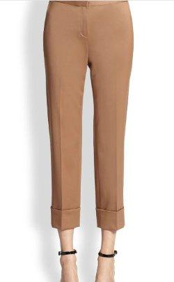 St. John  - Satin-Waist Wool Pants