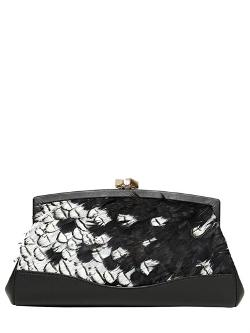 DESMO  - FEATHERS NAPPA LEATHER CLUTCH