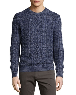 Vince  - Marled Cable-Knit Crewneck Sweater
