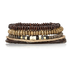 River Island - Brown Beaded Bracelets Pack
