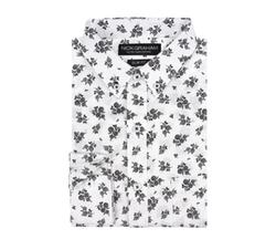 Nick Graham - White Sprig Floral Print Sport Shirt