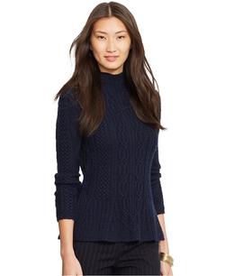 Lauren Ralph Lauren - Mock-Turtleneck Cable-Knit Peplum Sweater