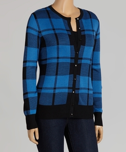 Nancy Yang - Denim Blue Plaid Cardigan