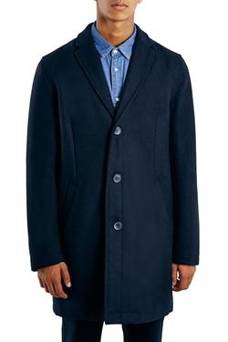 Topman - Navy Wool Blend Topcoat