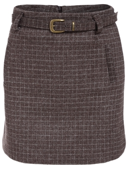 Romwe - Plaid Belt Skinny Skirt