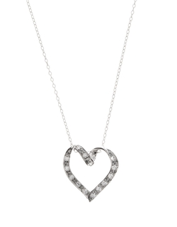 Lord & Taylor  - Zirconia Open-Heart Pendant Necklace